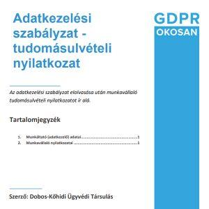 adatkezelési szabályzat tudomásulvételi nyilatkozat